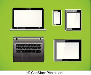 smartphone, computer, tavoletta, fondo., mobile, isolato, screen., pc, vettore, verde, vuoto, laptop