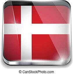 smartphone, danimarca, bottoni, domanda, bandiera, quadrato