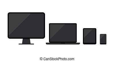smartphone, fondo., icona, o, mobile, bianco, computer, laptop, isolato, pc, set, telefono, desktop, tavoletta