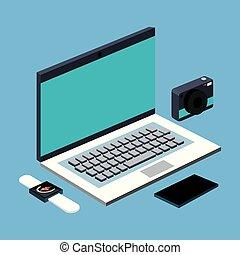 smartphone, foto, laptop, macchina fotografica, smartwatch, computer, congegno, tecnologia, aggeggio