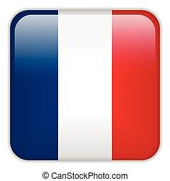 smartphone, francia, bottoni, domanda, bandiera, quadrato