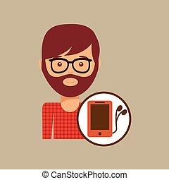 smartphone, hipster, cuffie, uomo