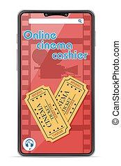 smartphone, illustrazione, concetto, vettore, cassiere, linea, cinema