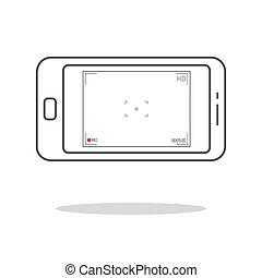 smartphone, macchina fotografica, 10., schermo, moderno, time., utente, eps, application., viewfinder., focalizzazione, registrazione, vettore, interfaccia, illustration.
