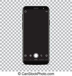 smartphone, macchina fotografica, application., illustrazione, vettore, nuovo