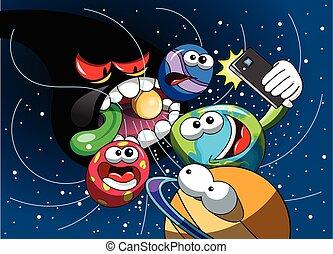 smartphone, mangiare, mostro, universo, selfie, nero, terra, buco, cartone animato