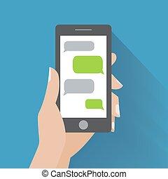 smartphone, mano, discorso, presa a terra, vuoto, bolle