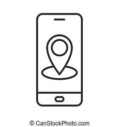 smartphone, mappa, navigazione, perno, domanda, icon., gps, mobile