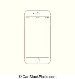 smartphone, mela, telefono, mobile, schermo, realistico, iphone, 6, tocco, nuovo, androide