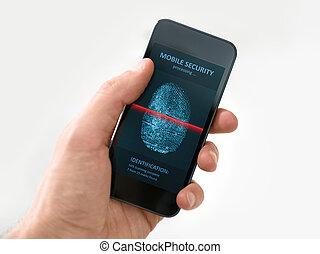 smartphone, mobile, mano, domanda, presa a terra, sicurezza