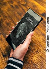 smartphone, mobile, schermo, recognized, non, impronta digitale, congegno, messaggio