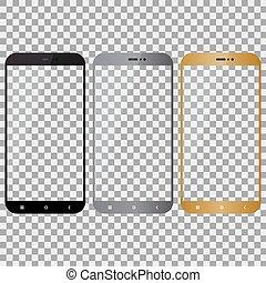 smartphone, oro, colorare, grigio, fondo, nero, trasparente