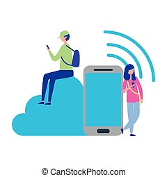 smartphone, persone, calcolare, collegamento, usando, nuvola