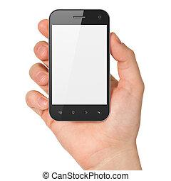 smartphone, presa a terra, render, generico, mano, fondo., telefono mobile, bianco, far male, 3d