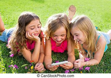 smartphone, ragazze, gioco, internet, bambini, amico