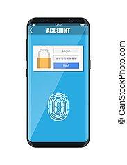 smartphone, sbloccato, impronta digitale