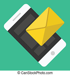 smartphone, sms, email, vettore, o, icona