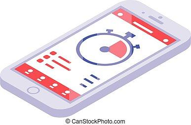 smartphone, stile, isometrico, addestramento, icona, app