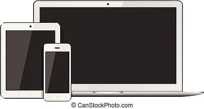 smartphone, tavoletta, fondo., isolato, laptop, pc, presentation., disegno, sagoma, sensibile, bianco, aperto
