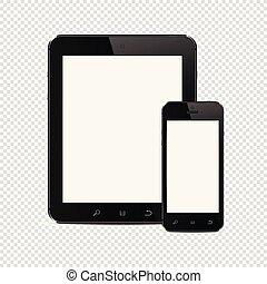 smartphone, tavoletta, mobile, isolato, pc, fondo, trasparente