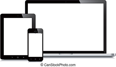 smartphone, tavoletta, mockup, laptop, fondo, bianco