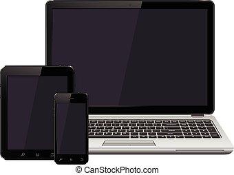 smartphone, tavoletta, mockup, schermo, laptop, vuoto