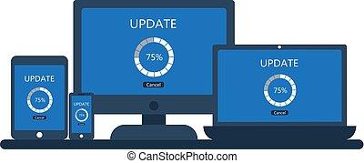 smartphone, tavoletta, schermo, aggiornamento, laptop, computer, desktop