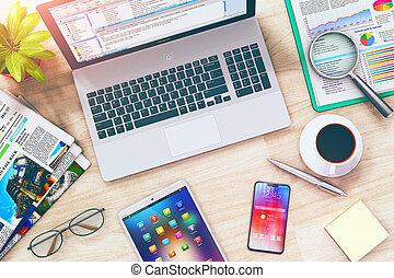 smartphone, tavoletta, ufficio, laptop, affari, work:, tavola