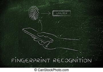 smartphones, riconoscimento, impronta digitale
