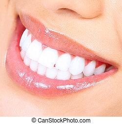 smile., donna, whitening., denti