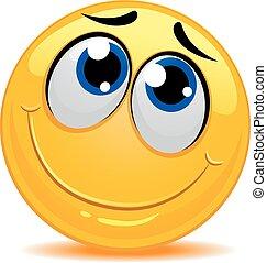 smiley, timido, sentimento, emoticon