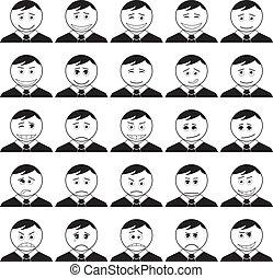 smileys, set, nero, contorno, ufficio