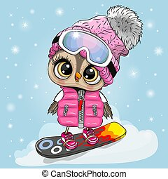 snowboard, blu, gufo, ragazza, fondo