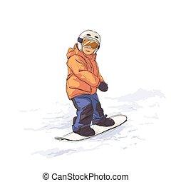snowboard, capretto
