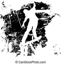 snowboard, o, grunge, skateboarder