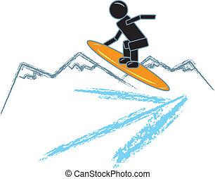 snowboarding, figura bastone
