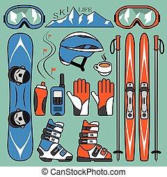 snowboarding, set, sciare