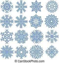 snowflakes., vettore, collezione, illustrazione