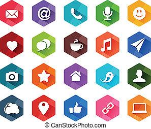 sociale, appartamento, media, icone