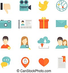 sociale, appartamento, set, icone