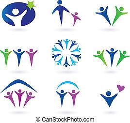 sociale, comunità, rete, icone