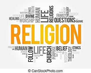 sociale, concetto, parola, nuvola, collage, religione