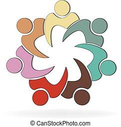sociale, logotipo, persone, lavoro squadra, media