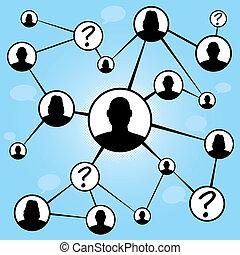 sociale, media, amici, grafico
