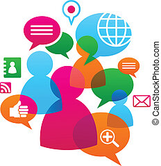 sociale, media, backgound, rete, icone