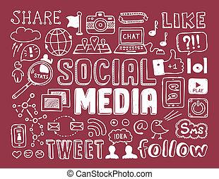 sociale, media, doodles, elementi