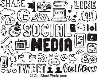 sociale, media, elementi, doodles