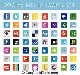 sociale, media, icone, set