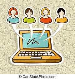 sociale, media, interazione, linea, persone