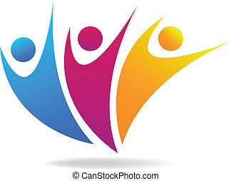 sociale, media, vettore, logotipo, persone